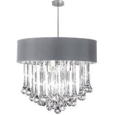 8LT Chandelier -Glass Droplets w/SV Shd : 2G06X   Sescolite Lighting