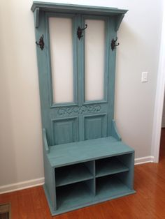 Hall Tree, Hall Tree Made From An Old Door With An End Table Attached To