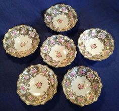 SOLD! Nippon-6-PRISTINE-Gold-Moriage-Sauce-Bowls-With-Roses-Gold-Beading-Japan