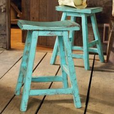 Great rustic stools with a fun turquoise color.  At $240/stool, I think I can make something similar for a lot less.