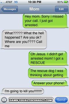 funny auto-correct texts - Scaring Mom