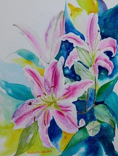 #Stargazer #lilies #watercolor by #Geetabiswas an #originalart #stilllife  $27