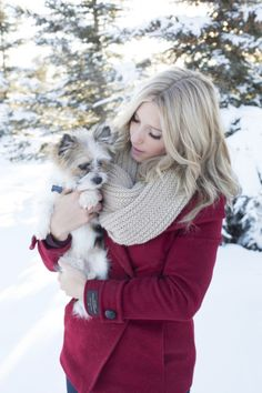 Blonde teen girl wearing deep red peacoat poses for portrait with family dog by @melaniebphoto | Two Bright Lights :: Blog