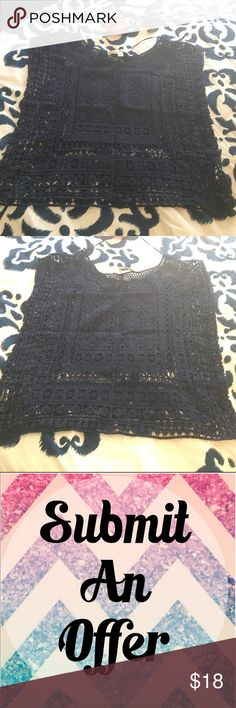🕸 Submit An Offer 🕸 Cute Navy Lauren Conrad Top • see through • good condition • LC Lauren Conrad Tops Tees - Short Sleeve