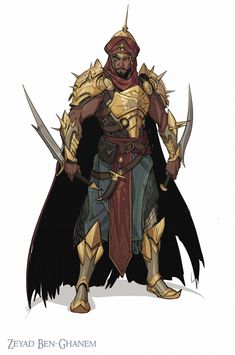 Cloaked Saber Karamaga assassin works for the Sultan ArtStation - Zaid Ben-Ghanem, ahmed maihope Dark Fantasy, Fantasy Armor, Fantasy Weapons, Medieval Fantasy, Fantasy Male, Fantasy Character Design, Character Design Inspiration, Character Concept, Character Art