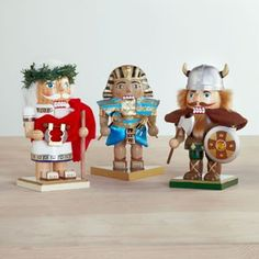 'Shorty' Nutcrackers::Ceasar • King Tut • Viking.  Go to origin.kaboodle.com to look for these