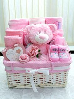 baby shower gift basket ideas for boy baby shower gift basket ideas for boyHow to Make Lovely Baby Baskets Ideas?Baby shower baskets are great if you want to quickly put toge Baby Girl Gift Baskets, Baby Gift Hampers, Baby Shower Niño, Baby Shower Gift Basket, Themed Gift Baskets, Diy Gift Baskets, Baby Girl Gifts, Baby Shower Gifts, Girl Shower