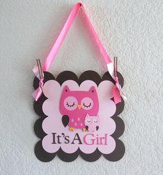 Owl Baby Shower Door Hanger by DiaperCakeBoutique on Etsy, $10.00