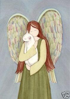White cat cradled by angel / Lynch signed folk art print #folkart