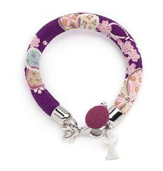 "Desirù ""My favorite purple"" with Angel silver charm #fashion #desirù #bracelet #kimono #charm #silver #desirumilano #jewelry #bijoux #milano"