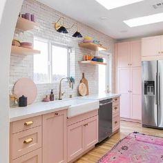 modern kitchen, kitchen cabinets, boho kitchen, kitchen decor ideas Kitchen 10 Insanely Cool Rooms That Started With a Bohemian Rug Boho Kitchen, Home Decor Kitchen, Home Kitchens, Pink Kitchens, Pastel Kitchen Decor, Kitchen Ideas, Pink Kitchen Interior, Kitchen Inspiration, Pink Kitchen Designs