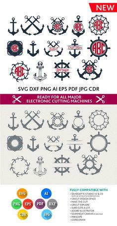 Anchor Svg Anchor Monogram svg Nautical Svg Nautical by PremiumSVG