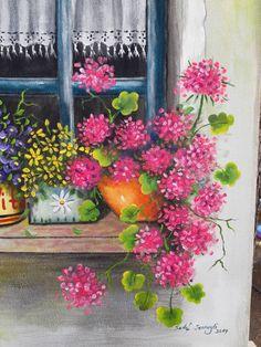 Ventana con flores Pintura acrílica original hecha a mano | Etsy Seascape Paintings, Easy Paintings, Original Paintings, Acrylic Painting Techniques, Acrylic Painting Canvas, Flower Window, House Gifts, Window Art, Acrylic Colors