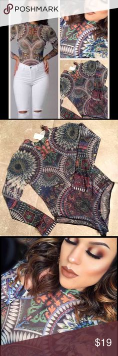 Sheer Tribal Print Bodysuit Looks nice with a jazzy pair of jeans🔸🔺. Never worn...only tried on Tops Blouses
