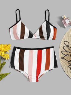 86625f7aebcd4 #ad Plus Striped Plunge Top With High Waist Bikini Set. Price: $13.00.  Multicolor Striped Bikinis Plus Size Swimwear. #Fashion #Womens #Clothes  #Dresses ...