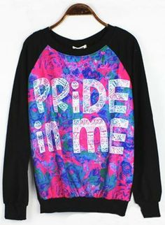 PRIDE IN ME Graphic Sweatshirt,  Top, black  long sleeve  Medi  fashion sweatshirt, Casual