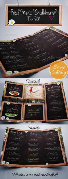 "Food Menu ""Chalkboard"" Tri-Fold - Food Menu Print Template PSD. Download here: http://graphicriver.net/item/food-menu-chalkboard-trifold/3895259?s_rank=93&ref=yinkira"