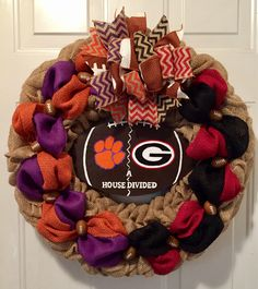 A personal favorite from my Etsy shop https://www.etsy.com/listing/555865209/clemson-university-wreath-university-of