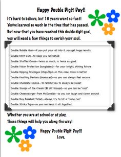 """Happy Double Digit Day--poem I crafted and collection of items I brainstormed to mark the 9 turning 10 milestone.  I have since come up with more---like a jumprope to learn """"double dutch"""", but I had to stop somewhere!!  I feel like I should patent this and charge, but the teacher in me likes to share!  ENJOY :)"""
