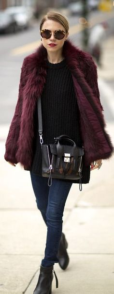 Faux Fur Jackets! Streamline your look by sporting a monochromatic look or keeping to certain tones. Rock those dark hues together for an edgy and city chic vibe! You'll be looking just like the top fashion bloggers!
