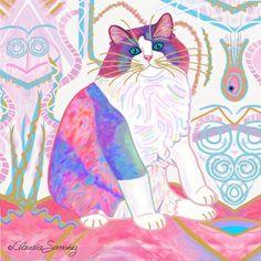 Zapata's Dream World Decorative Ceramic Cat Art Tile by Claudia Sanchez Ceramic Decor, Tile Art, Cat Art, Original Artwork, Cats, Anime, Things To Sell, Gatos, Kitty