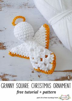 Crochet this easy granny square angel amigurumi character christmas ornament from my free crochet christmas ornaments roundup!