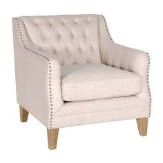 Houseology Collection Sloped Arm Studded Armchair