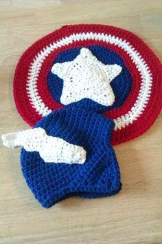 crochet captain america hat - cute baby set - shield on butt :)