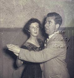 Twomey dancing with a woman in the Town Hall in Ennistymon.