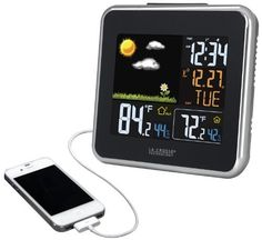 La Crosse Technology 308-146  Atomic Wireless Color Forecast Station with Dew Point, Heat Index,  USB charging port, http://www.amazon.ca/dp/B00A6TQ608/ref=cm_sw_r_pi_awdl_5CpRvbRYCXH11