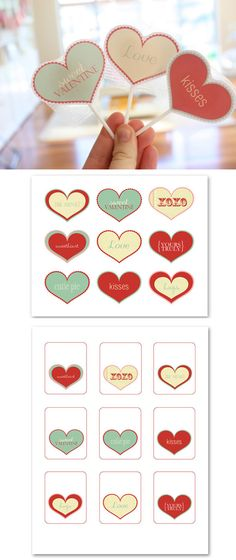Valentine Tags - Free PDF Printables. Lovely to be used on the front of Lollies or as gift tags.
