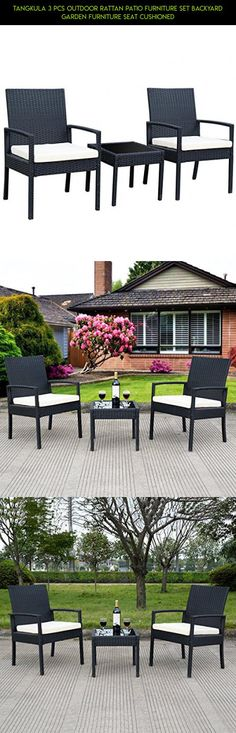 Tangkula 3 PCS Outdoor Rattan Patio Furniture Set Backyard Garden Furniture Seat Cushioned #kit #racing #products #gadgets #plans #camera #patio #3 #shopping #fpv #sets #tech #furniture #technology #drone #parts