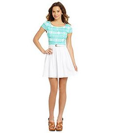 A mint and blue tribal top with a white bottom