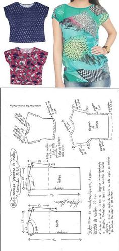 Sewing Blusas Blusa manga japonesa malha – DIY – molde, corte e costura – Marlene Mukai Dress Sewing Patterns, Sewing Patterns Free, Free Sewing, Clothing Patterns, Pattern Sewing, Clothing Ideas, Sewing Tutorials, Sewing Clothes Women, Free Clothes