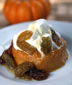 Creamy Pumpkin Custard w/ Golden Raisin Compote