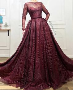 Details - Burgundy dress color - Glittery tulle fabric - A-line dress shape with waist definition long-sleeves and a velvet belt - For parties and special events A Line Evening Dress, Cheap Evening Dresses, Evening Gowns, Sparkly Prom Dresses, Pageant Dresses, Wedding Dresses, Elegant Dresses For Women, Burgundy Dress, Burgundy Color
