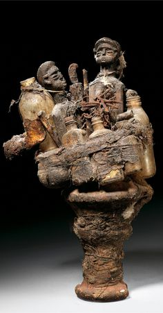 Africa | Fetish from the Fon people of Benin | Wood, bottles, resin, natural fiber, leather and other substances