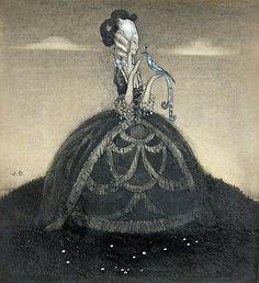 John Bauer, Girl (Tinka-lillfot-gullhår) with blue bird (watercolour, not from an illustrated book)
