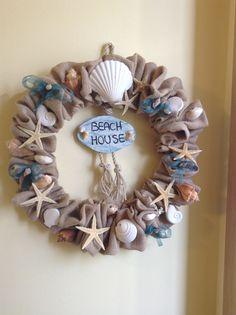 Sea burlap wreath Ghirlanda in juta con conchiglie nastri e gessi profumati