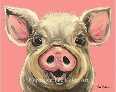 pig print pig painting, pig on red background This is a professional quality signed and numbered print from original acrylics on canvas artwork. Animal Paintings, Animal Drawings, Art Drawings, Canvas Artwork, Canvas Art Prints, Painting Canvas, Artist Painting, Cow Painting, Photo Canvas