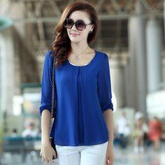 2014 de Moda de Nova Hot Sale Plus Size Casual manga comprida Chiffon Blusa Camisas para mulheres W4279