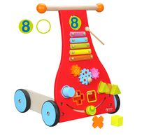 This baby walker is a complete child's interactive toy!  Features include: Xylophone (including mallet), 3D shape sorter, workable gears, mirror and storage compartment. Get your child started on his or her path to walking with this carefully designed walker.