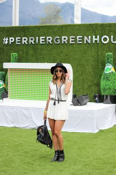 Festival outfit, white romper, festival fashion, Perrier, Perrier greenhouse, style blogger, fashion blogger, summer fashion @randasalloum randasalloum.com