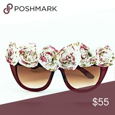 Floral Cats Eye Sunglasses Beautiful cats eye sunglasses adorned with printed fabric roses. Ritchie White Accessories Sunglasses