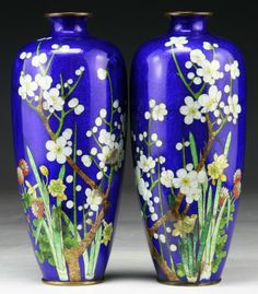 Pair of Japanese Antique Ginbari Cloisonne On Silver Vases