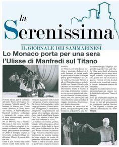 """10 novembre 2015-La Serenissima-San Marino. il nuovissimo quotidiano nato a San Marino presenta lo spettacolo """"il Mio Nome è Nessuno"""", in scena mercoledì 11 novembre 2015 al Teatro Nuovo Dogana di San Marino"""