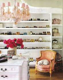 Luscious bedroom dressing room walk-in wardrobe design - chandelier-show-storage-closet.jpg - A shoe room! Pink Chandelier, Closet Chandelier, Beaded Chandelier, Vintage Chandelier, Sweet Home, Walk In Wardrobe, Wardrobe Design, Wardrobe Room, Closet Bedroom