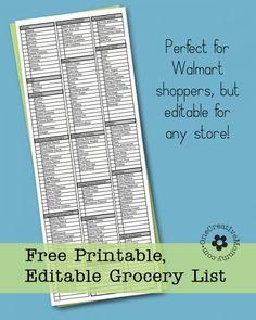 Freebie Friday--Printable Grocery List - onecreativemommy.com