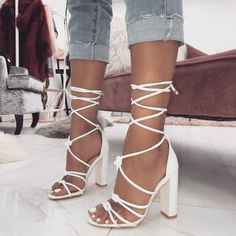 White Flowers Open Toe Stiletto Heels Strappy Sandals Wedding Shoes for Party Music festival Ball Date Anniversary Going out Red carpet White Strappy Sandals, Lace Up Heels, White Strappy Heels, Gladiator Sandals, Sandals Platform, Stilettos, Pumps Heels, Stiletto Heels, Prom Heels