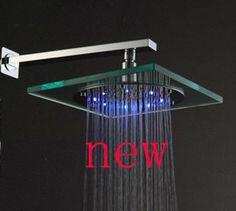 Square LED Shower Head Temperature Sensor Color Changing $31.36
